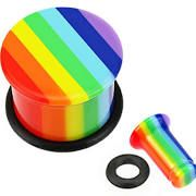 Rainbow Striped Single Flared Top Hat Acrylic Plug with O-Ring 8g