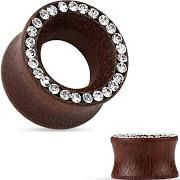 Organic Rose Wood Double Flared Tunnel with Crystal Paved Rim 0g