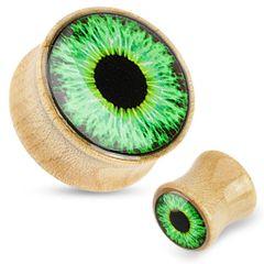 """Green Eyeball Print Dome Top Maple Wood Saddle Plug 5/8"""""""