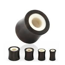 Bone Inlay Organic Buffalo Horn Saddle Fit Tunnel Plug 1/2""