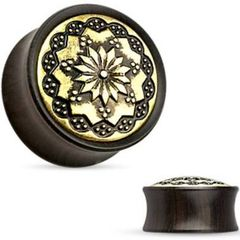 Antique Tribal Pattern Ebony Wood Saddle Fit Plug 0g