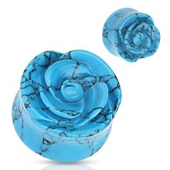 Blue Turquoise Semi Precious Stone Rose Carved on Single Side Double Flared Plug 1/2""