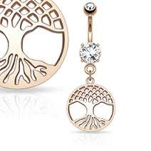 Round Tree of Life Dangle on Round CZ Prong set 316L Surgical Steel Belly Button Rings
