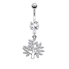 Micro CZ Paved Life Tree Dangle and Round CZ Set 316L Surgical Steel Belly Button Navel Rings