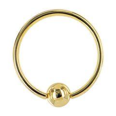 "Gold Captive Bead Ring 16g 3/8"""