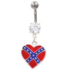 Rebel Flag Heart Navel Ring