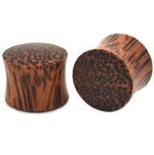 "Coco Wood Saddle Fit Organic Solid Plug 1"""