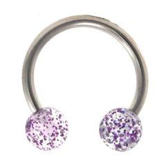 316L Steel Horseshoe with Glitter Ball 16g purple