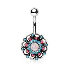 316L Stainless Steel Multi Beads Circular Floral Navel Ring
