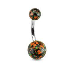 Splatter Ball 316L Surgical Steel Navel Ring-Orange