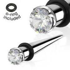 Prong Gem 316L Surgical Steel Taper with O-ring 8g