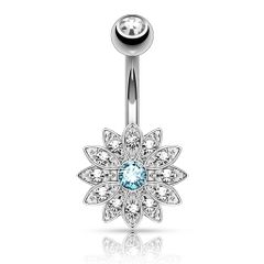 Petite Crystal Paved Flower with Crystal Center 316L Surgical Steel Belly Button Rings Aqua