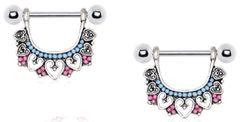 316L Stainless Steel Multi Beads Heart Nipple Ring 14g