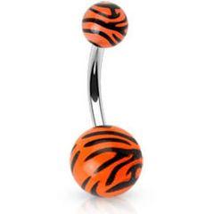 316L Navel Tiger Print UV Ball-Orange