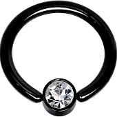 "gem set steel ball Titanium IP Over 316L Surgical Steel Ring 14g 3/8"" black"