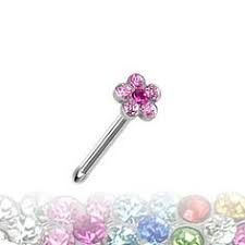 316L Steel Nose Bone with Paved Flower 20g pink