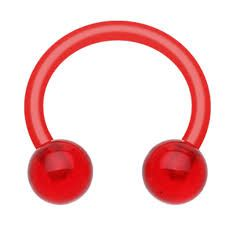 All UV Flexible Horseshoe 16g red