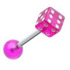 Dice Top Acrylic Tongue Ring pink