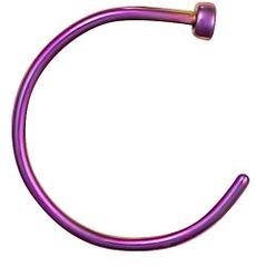 """Titanium IP Nose Hoop 3/8"""" 20g Purple"""