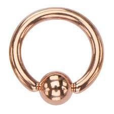 """Rose Gold Plated 316L Steel Captive Bead Ring 14g 5/16"""""""