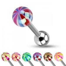 Metallic Coating Candy Ball Assorted Color 316L Surgical Steel Barbell-pink and yellow