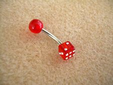 Navel Ring with UV Dice-Red