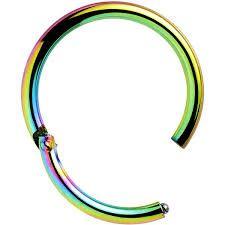 "Titanium IP Hinged Segment Ring 16g 3/8"" rainbow"