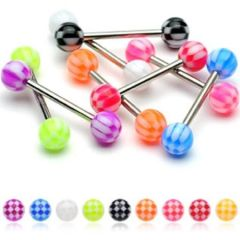 316L Steel Checker Pattern Barbell-pink