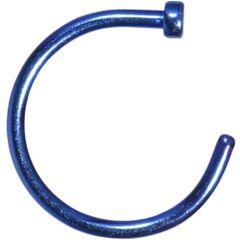 """Titanium IP Nose Hoop 18g 3/8"""" blue"""