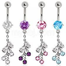 316L Surgical Steel Multi CZ Vine Navel Ring-pink