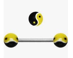 316L Steel Ying Yang Barbell-Black and Yellow