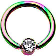 "gem set steel ball Titanium IP Over 316L Surgical Steel Ring 14g 1/2"" rainbow"