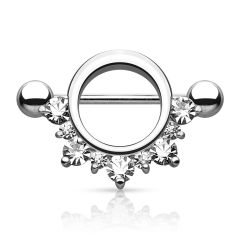 Prong Set CZ Paved Nipple Shield 14g