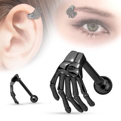 Skeleton Hand Top 316L Surgical Steel Eyebrow/Cartilage Barbell