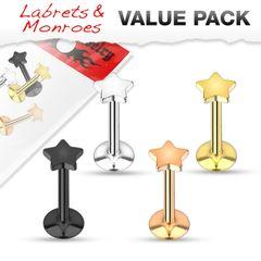 IP Titanium Star Labret 16g 4 Pack