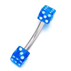Acrylic Dices 316L Surgical Steel Eyebrow Curve blue