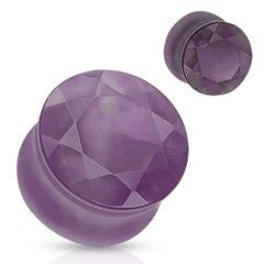 Amethyst Faceted Gem Cut Semi Precious Stone Double Flared Plug 2g