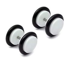 316L steel acrylic front faux plug white