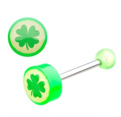 14g 316L Surgical Steel 4 Green Leaves Barbells.
