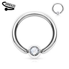 316L Surgical Steel Gem Set Fixed one End Ball Hoop Rings 18g 3/8""