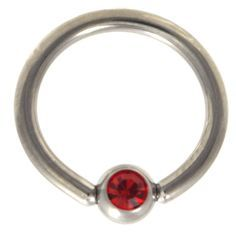 Captive Bead Ring with Gem 16g red