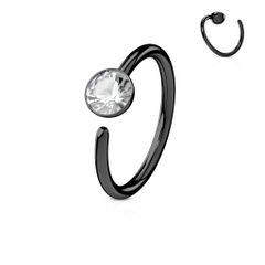 Ion Plated 316L Surgical Steel Nose Ring with Single CZ 20g