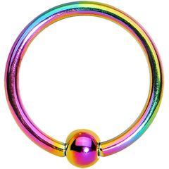 """Titanium IP Captive Ring 18g 3/8"""" rainbow"""