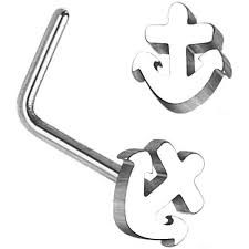Anchor Top 316L Surgical Steel L Bend Nose Ring 20g