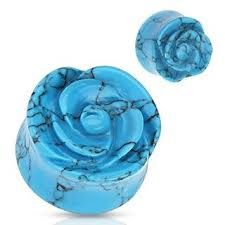 Blue Turquoise Semi Precious Stone Rose Carved on Single Side Double Flared Plug 2g