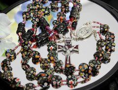 Black Millefiori Bead Rosary