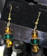 Green Cathedral Bead Earrings