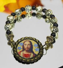 Bottle Cap Jesus Stretch Bracelet