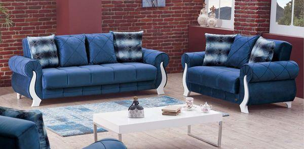 montreal blue fabric sofa bed got. Black Bedroom Furniture Sets. Home Design Ideas