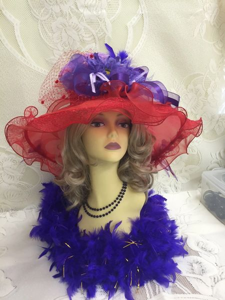 ff4902512ad07 Red and Purple Church Derby Floppy Hat